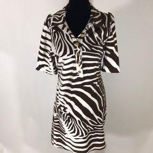 Tory Burch brown and white animal print dress